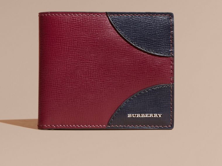Two-tone London Leather International Bifold Wallet in Burgundy Red - cell image 1