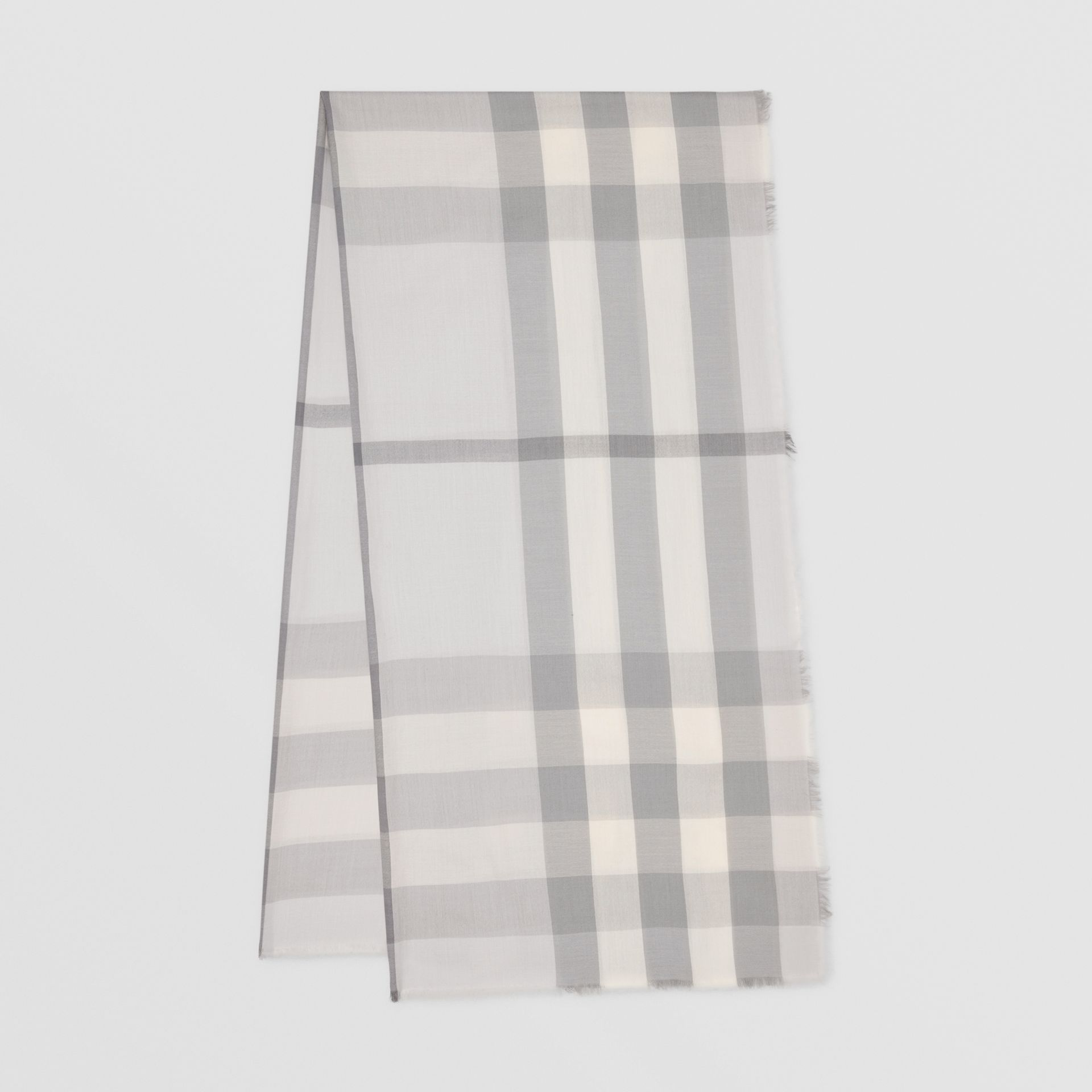 Lightweight Check Cashmere Scarf in White/light Grey | Burberry - gallery image 0