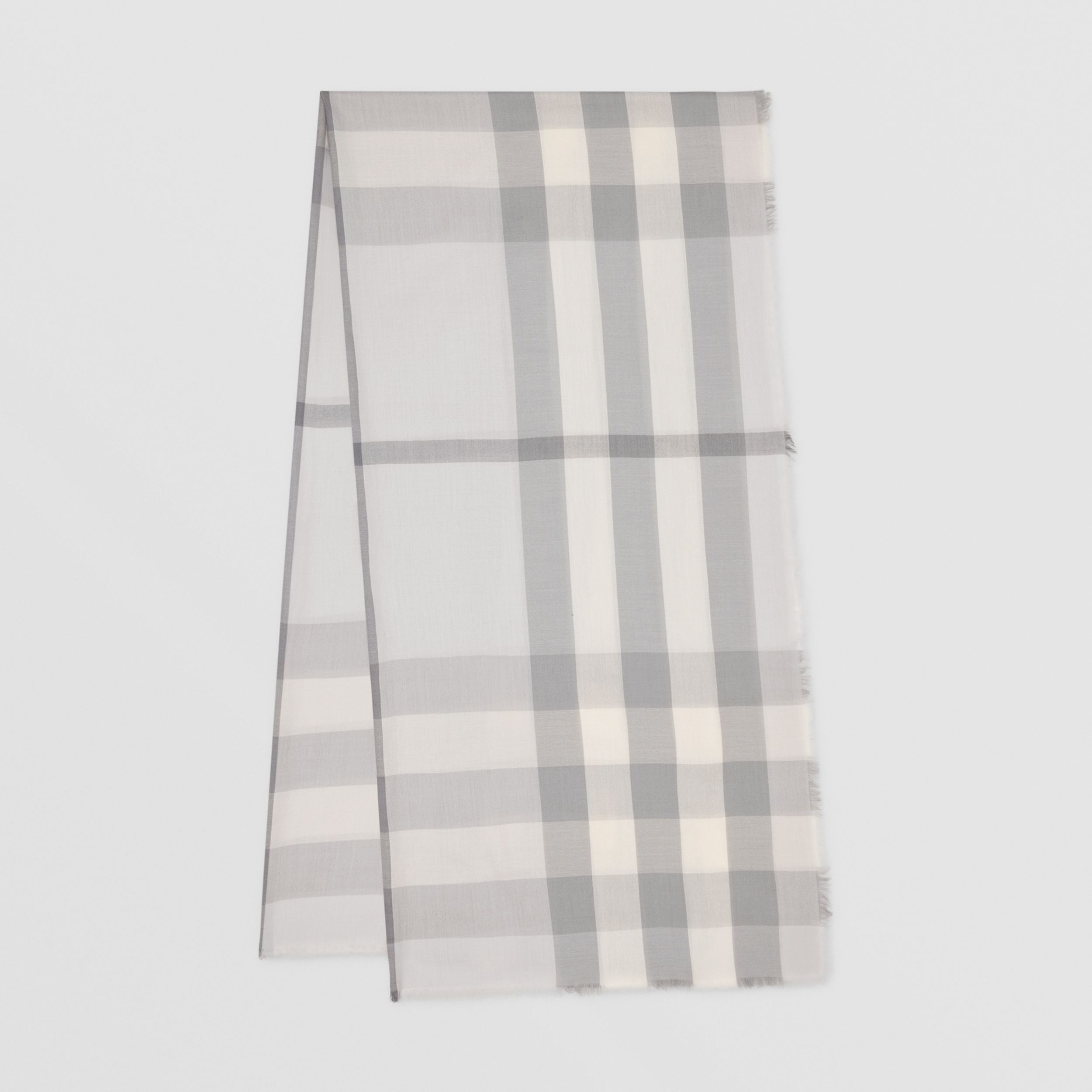 Lightweight Check Cashmere Scarf in White/light Grey | Burberry Canada - 1