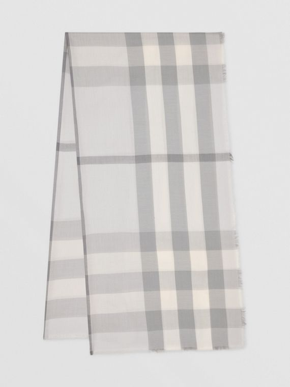 Lightweight Check Cashmere Scarf in White/light Grey