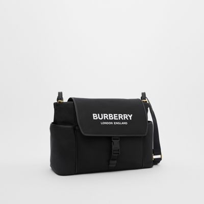 Logo Print ECONYL® Baby Changing Bag in Black Children | Burberry United Kingdom