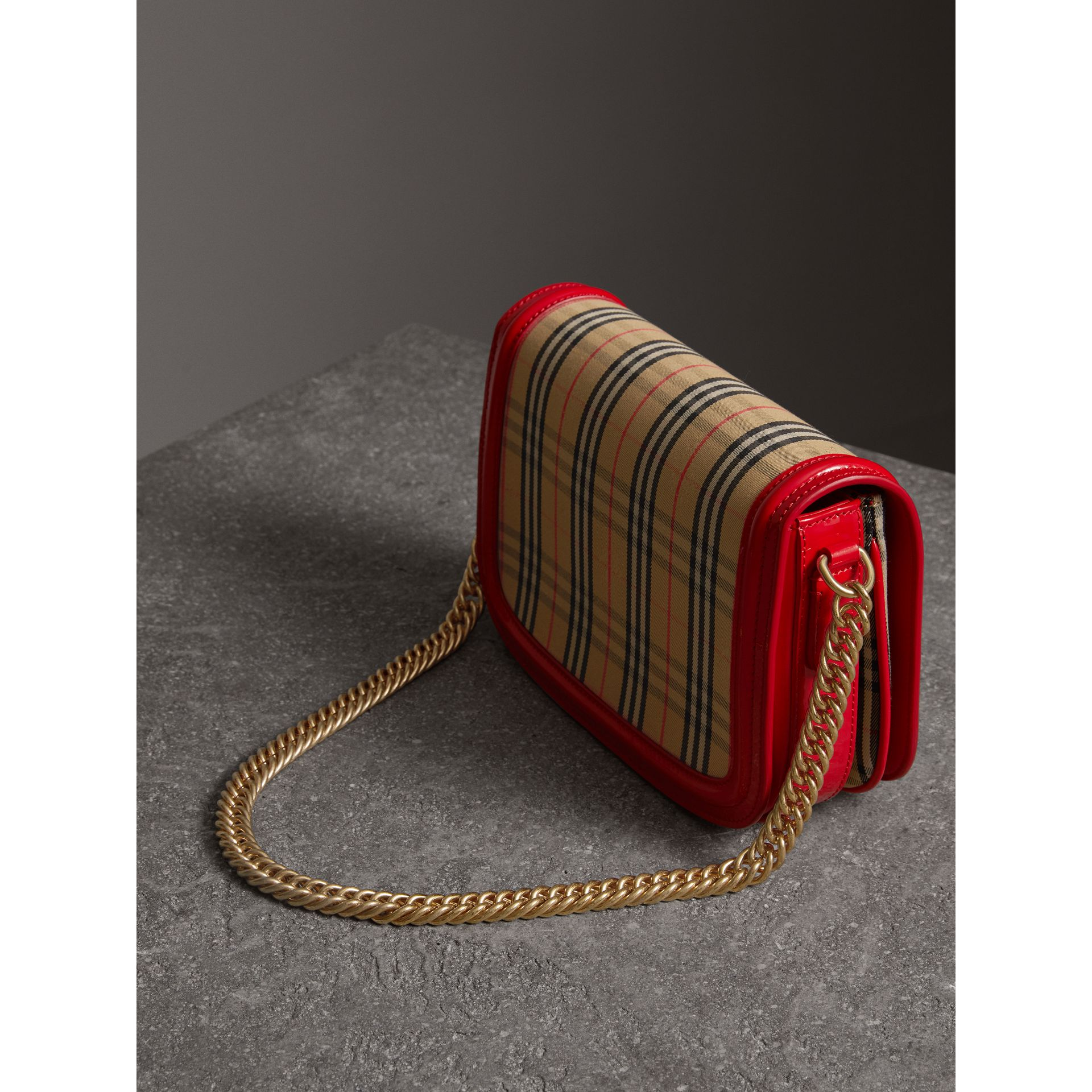 The 1983 Check Link Bag with Patent Trim in Bright Red - Women | Burberry - gallery image 4