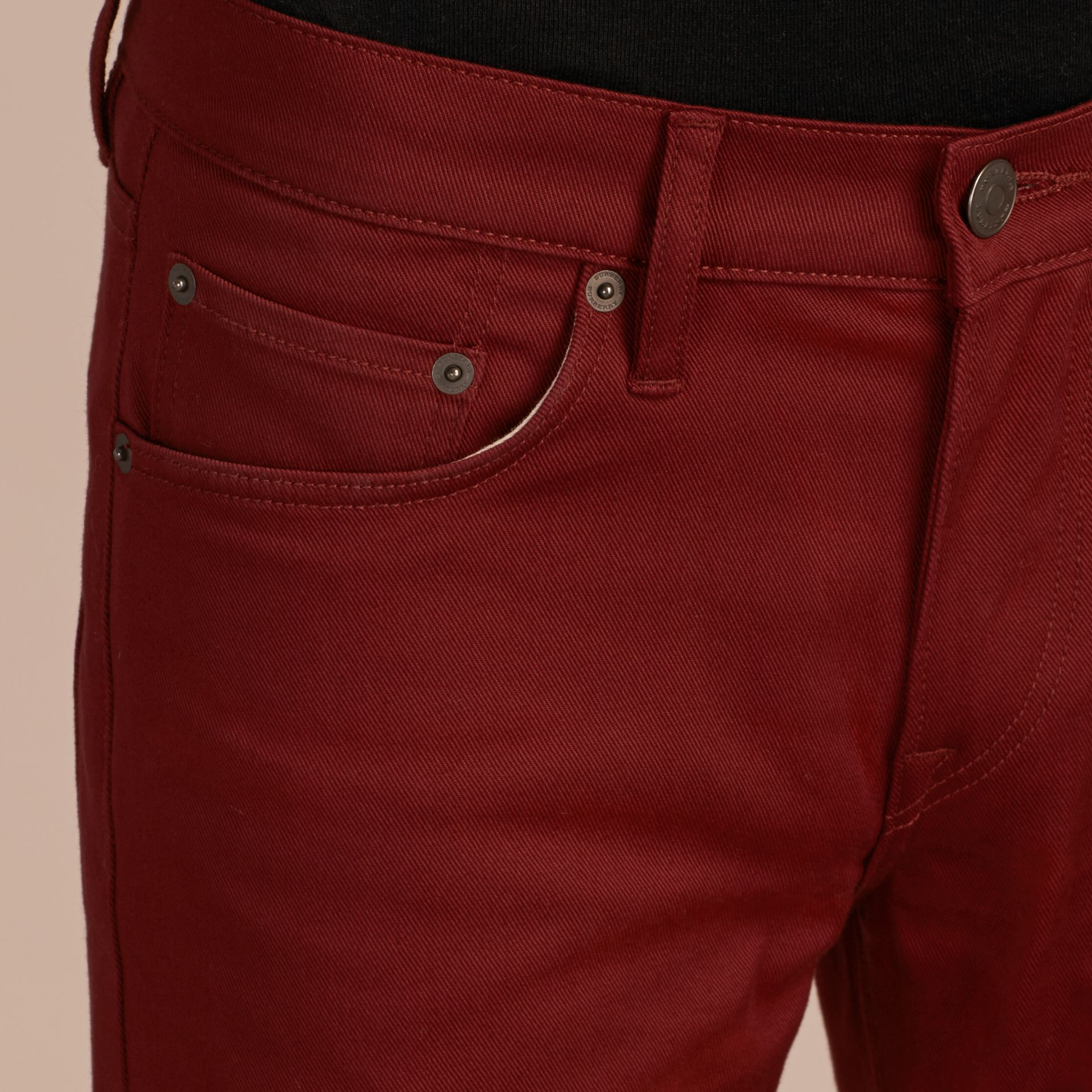 Dark red Slim Fit Japanese Stretch Denim Jeans Dark Red - gallery image 5