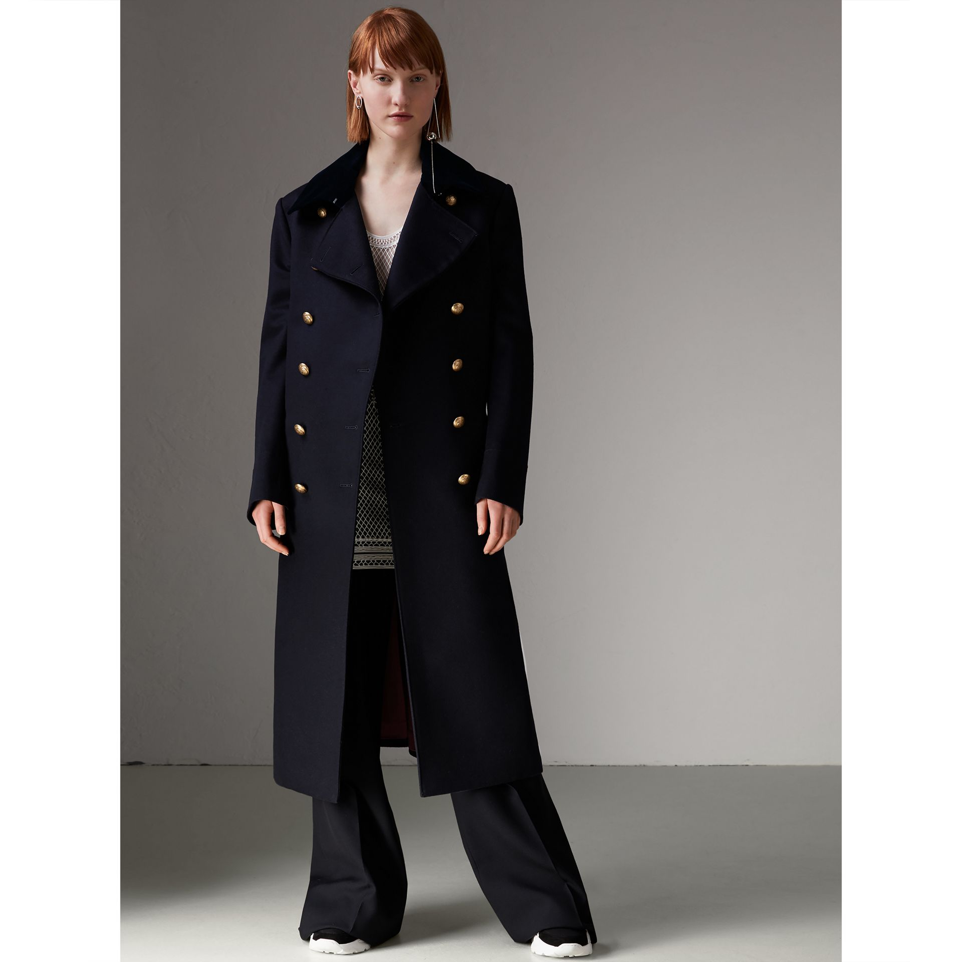 Doeskin Wool Military Coat in Dark Navy - Women | Burberry - gallery image 5