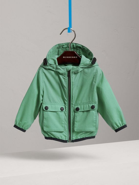 Showerproof Hooded Jacket in Vibrant Green | Burberry Singapore - cell image 2