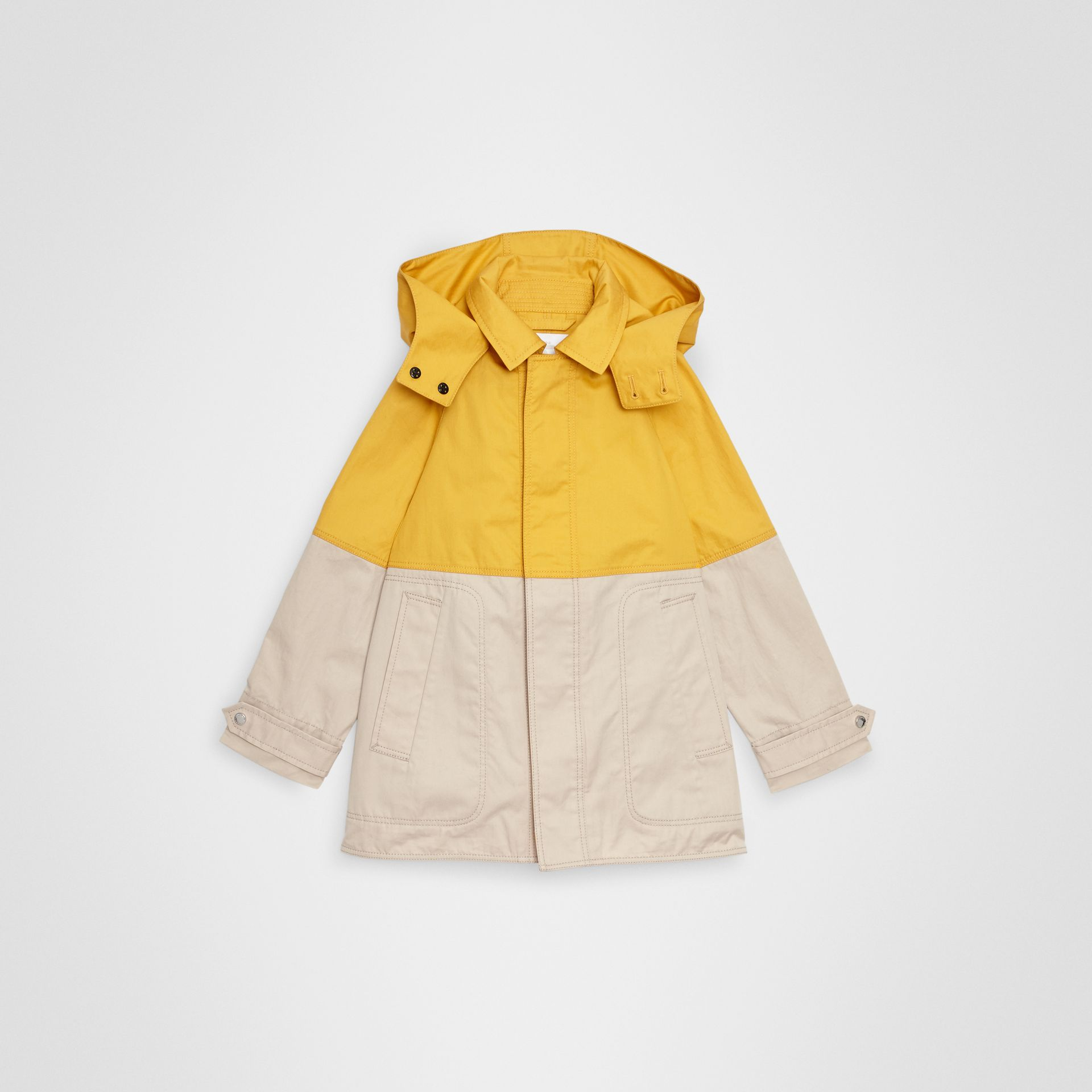 Detachable Hood Colour Block Cotton Car Coat in Gorse Yellow | Burberry - gallery image 0