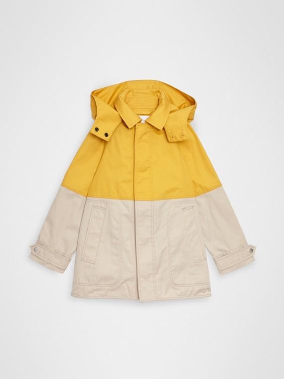 Kurzmantel aus Baumwolle im Colour-Blocking-Design mit abnehmbarer Kapuze (Ginstergelb)