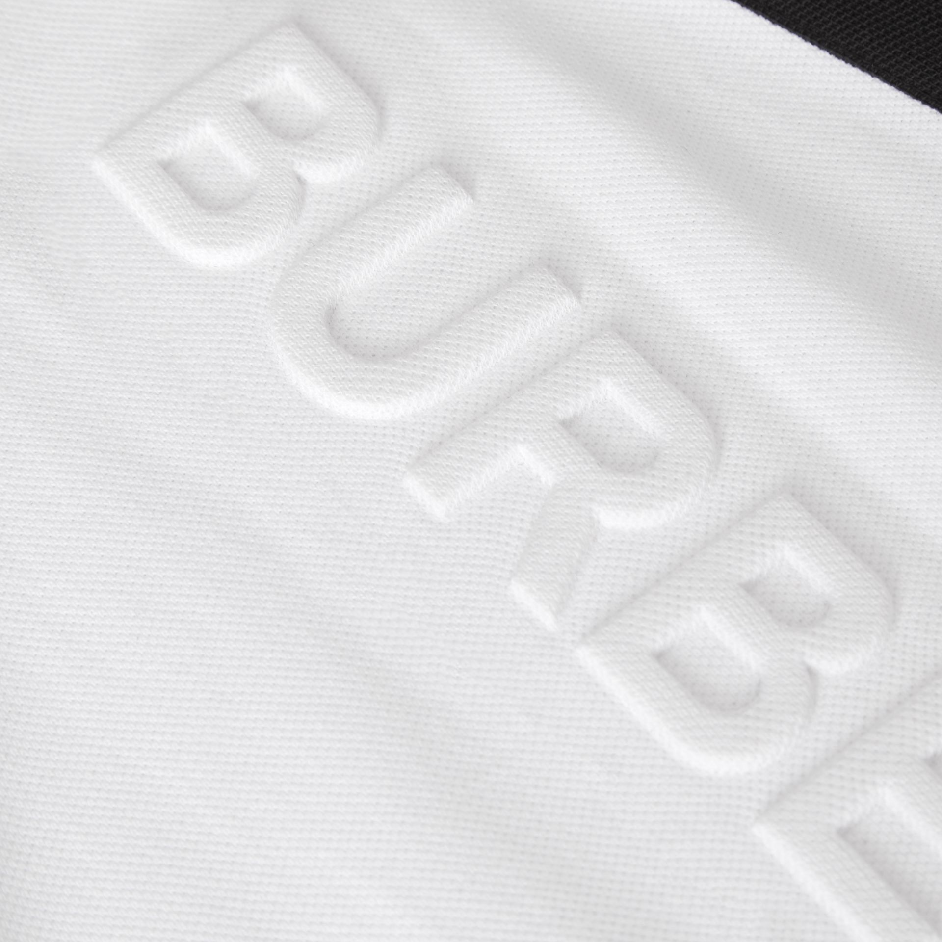 Embossed Logo Cotton Piqué Polo Dress in White | Burberry - gallery image 1