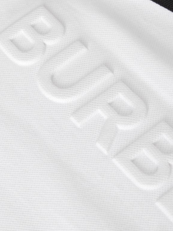 Embossed Logo Cotton Piqué Polo Dress in White | Burberry - cell image 1