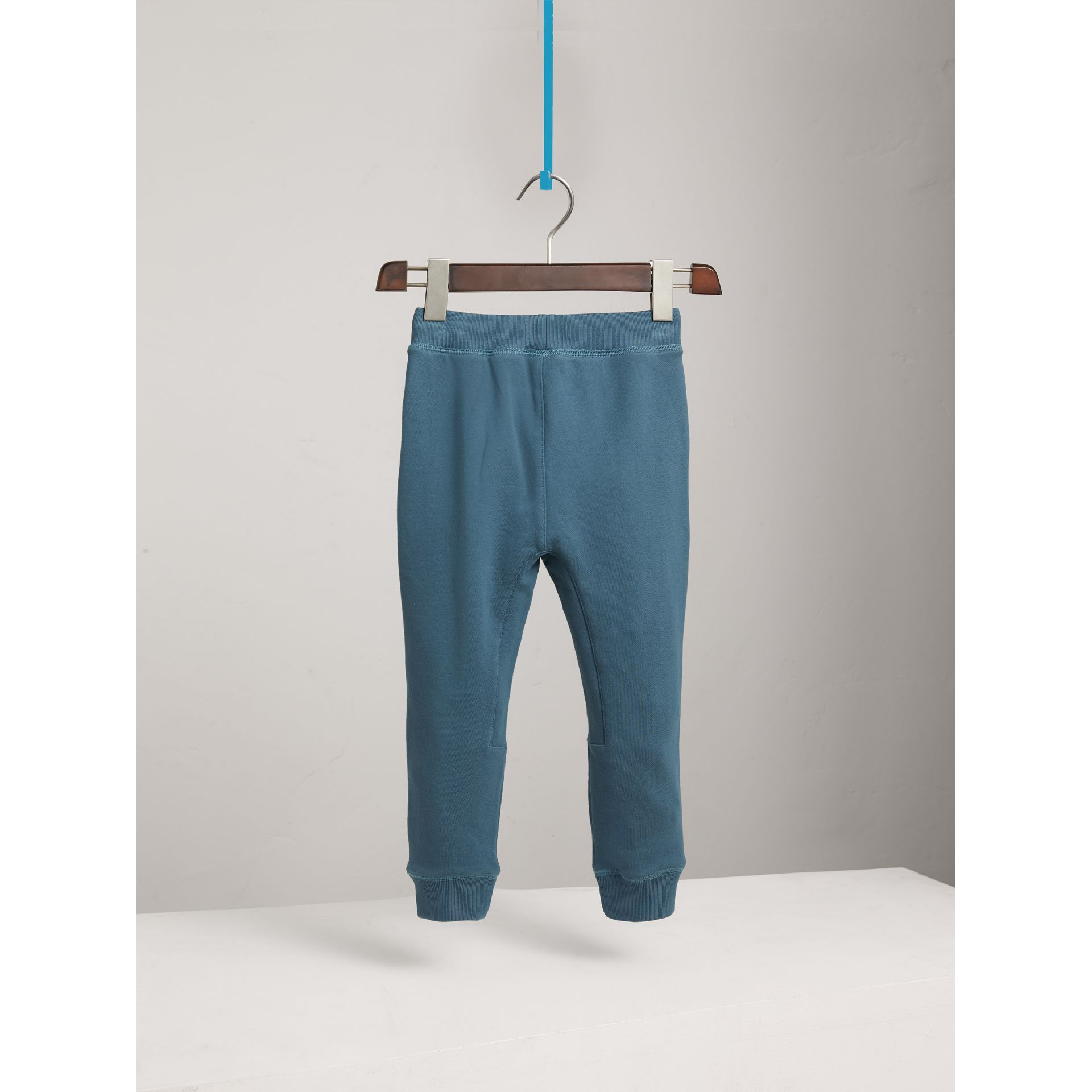 Drawcord Cotton Sweatpants in Pewter Blue - Boy | Burberry - gallery image 4