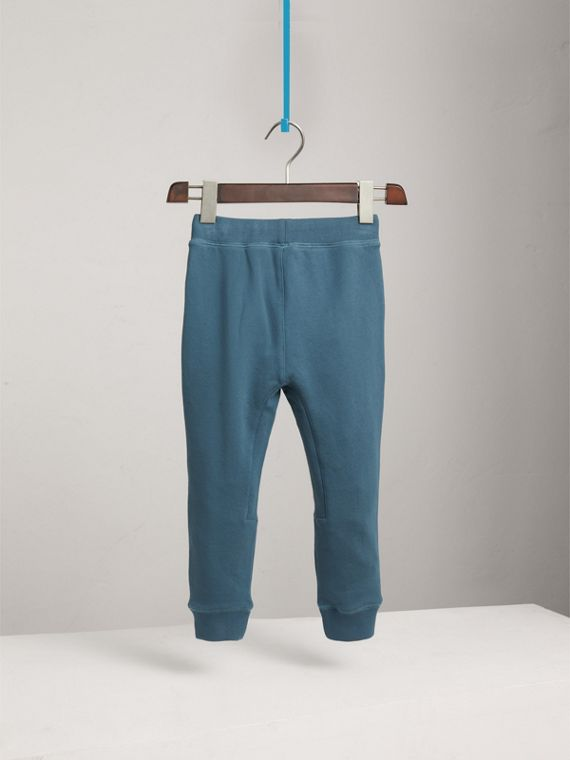 Drawcord Cotton Sweatpants in Pewter Blue | Burberry - cell image 3