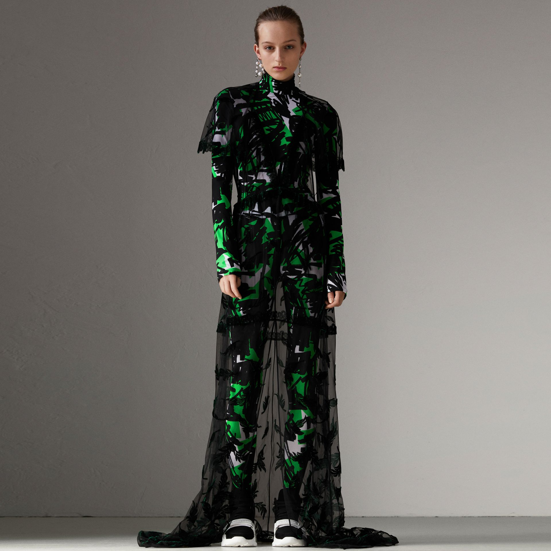 Graffiti Print Stretch Jersey Top in Neon Green - Women | Burberry United Kingdom - gallery image 0