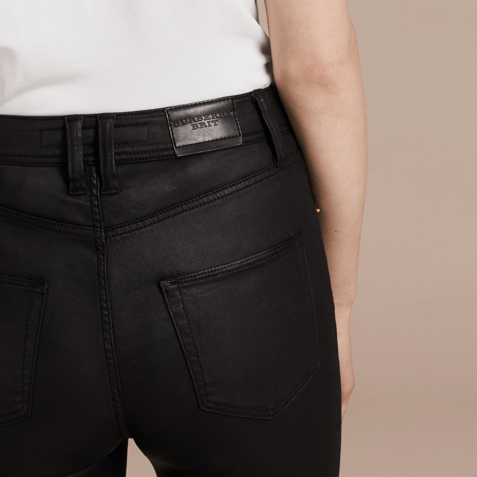 Black Skinny Fit High-rise Coated Stretch Denim Jeans - gallery image 6