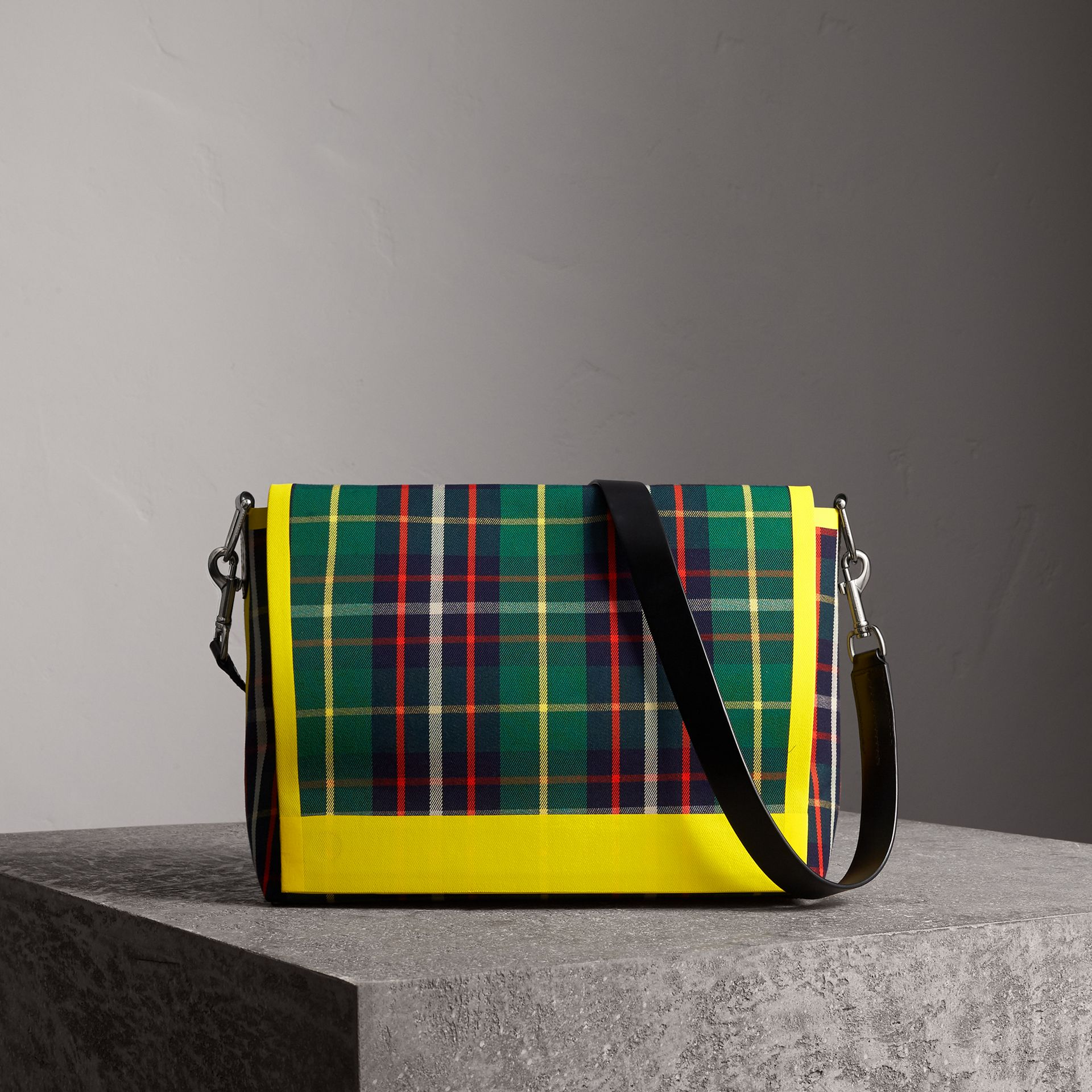 Large Tartan Cotton Messenger Bag in Forest Green | Burberry - gallery image 0