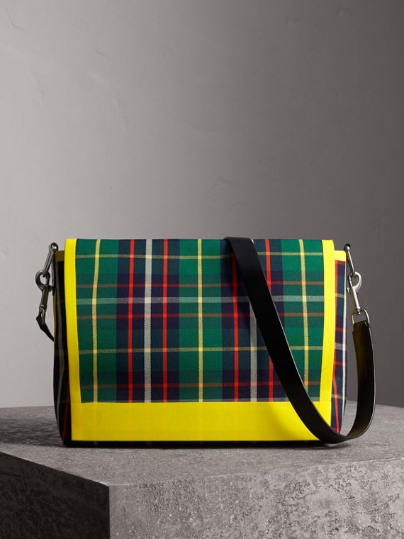 Large Tartan Cotton Messenger Bag in Forest Green