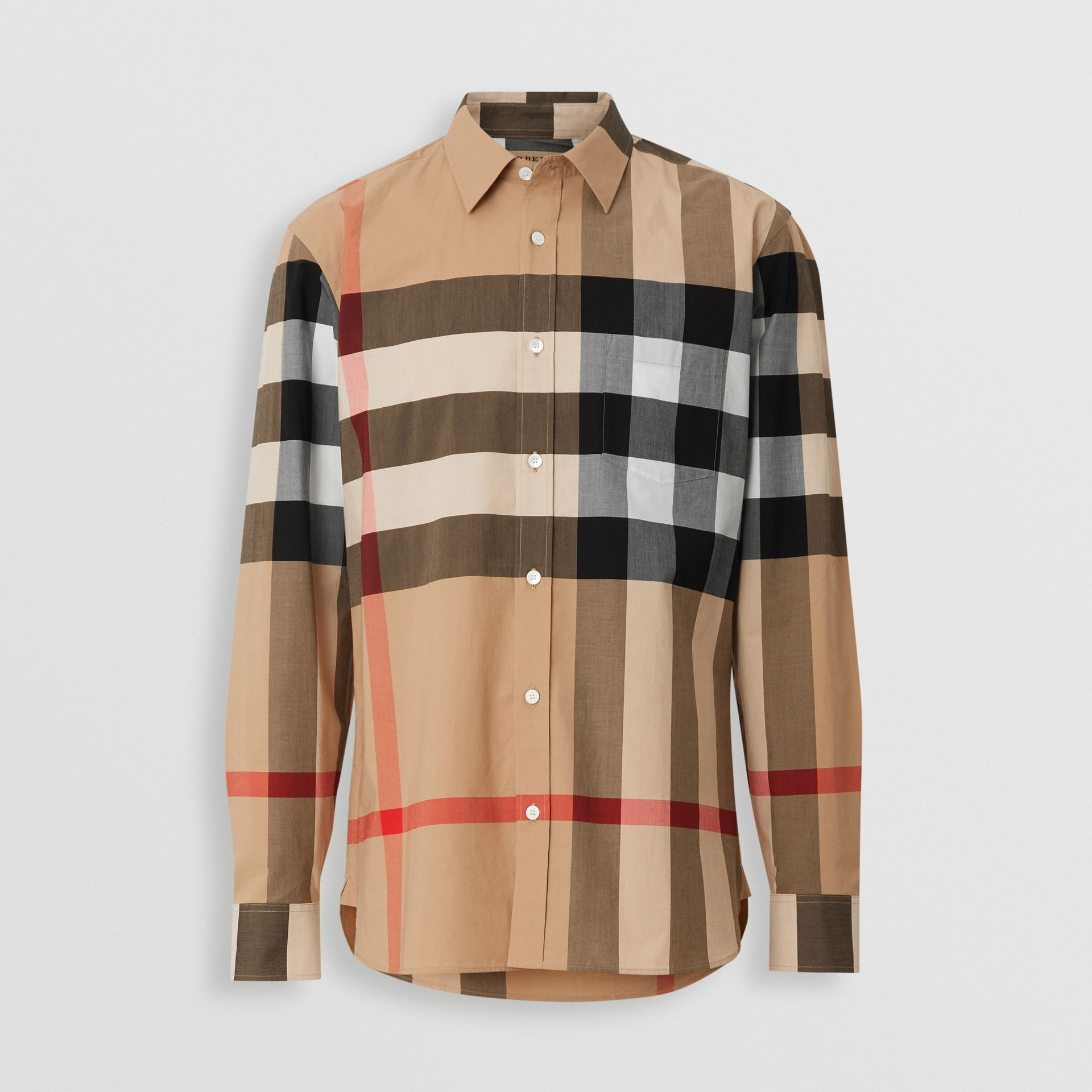 Check Stretch Cotton Shirt in Camel - Men | Burberry United Kingdom - gallery image 3