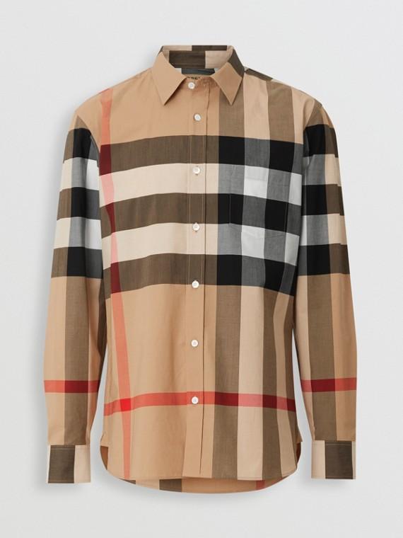Camisa en algodón elástico a cuadros (Cámel)