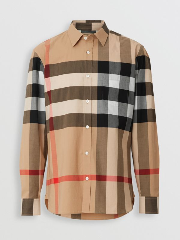 Check Stretch Cotton Shirt in Camel - Men | Burberry Canada - cell image 3