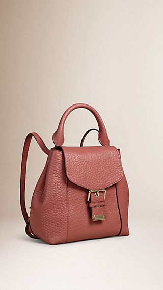 Signature Grain Leather Backpack Antique Rose