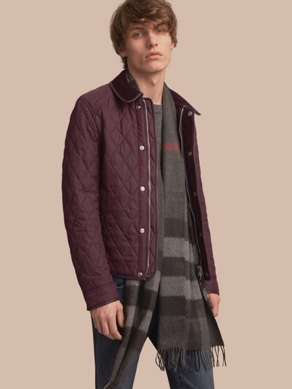 Leather Piping Corduroy Collar Quilted Jacket Claret