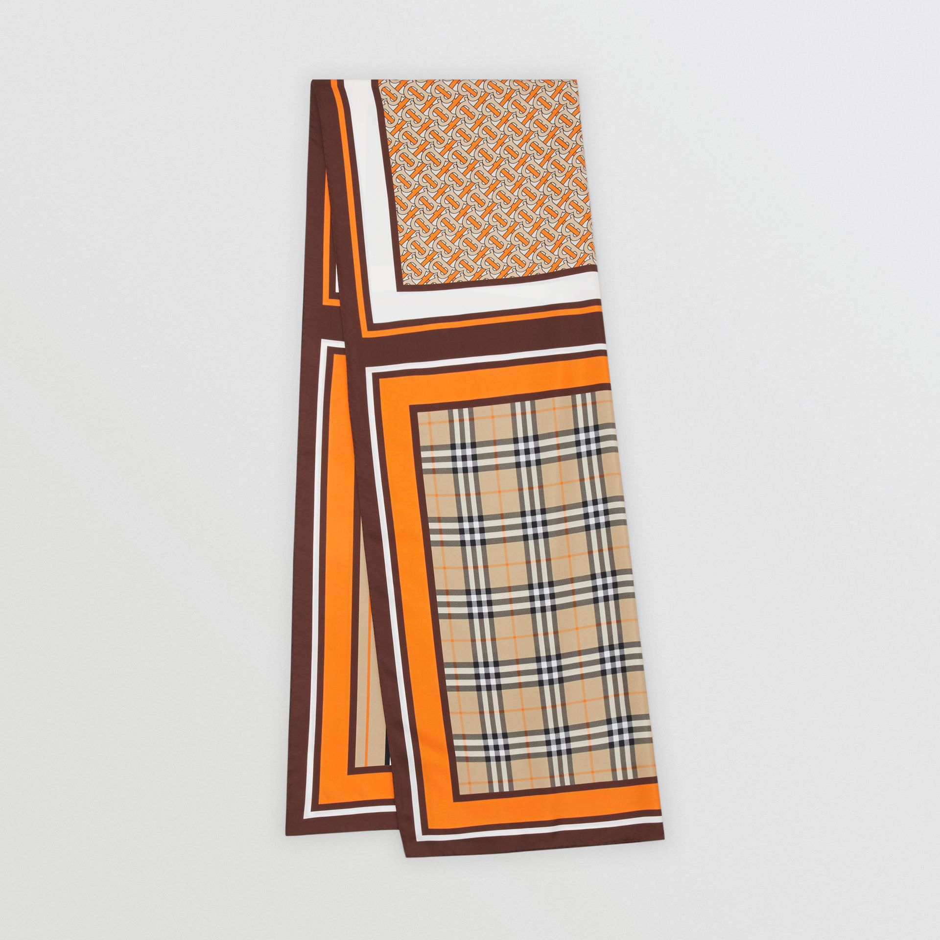 Monogram, Icon Stripe and Check Print Silk Scarf in Bright Orange | Burberry United Kingdom - gallery image 0