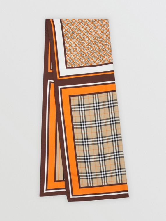 Monogram, Icon Stripe and Check Print Silk Scarf in Bright Orange