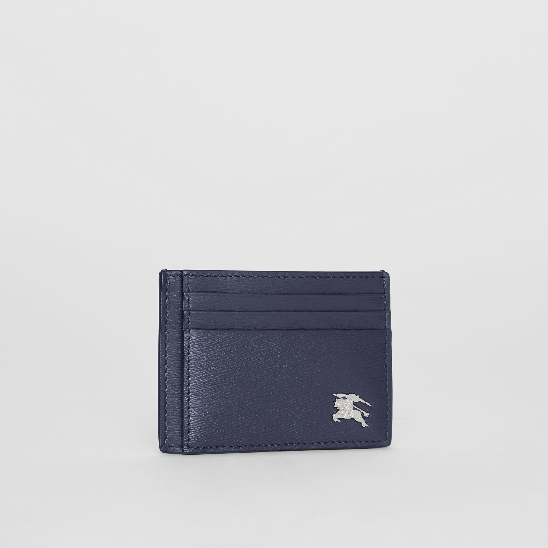 Grainy Leather Card Case in Navy | Burberry - gallery image 3
