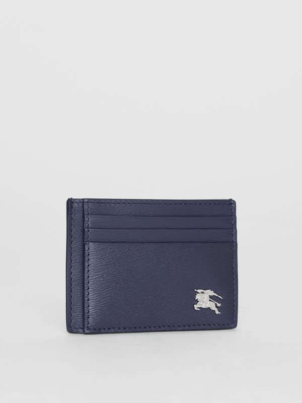 Grainy Leather Card Case in Navy | Burberry - cell image 3