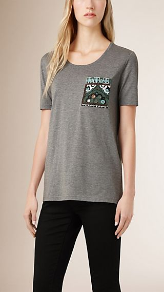 Embroidered Detail Cotton T-shirt
