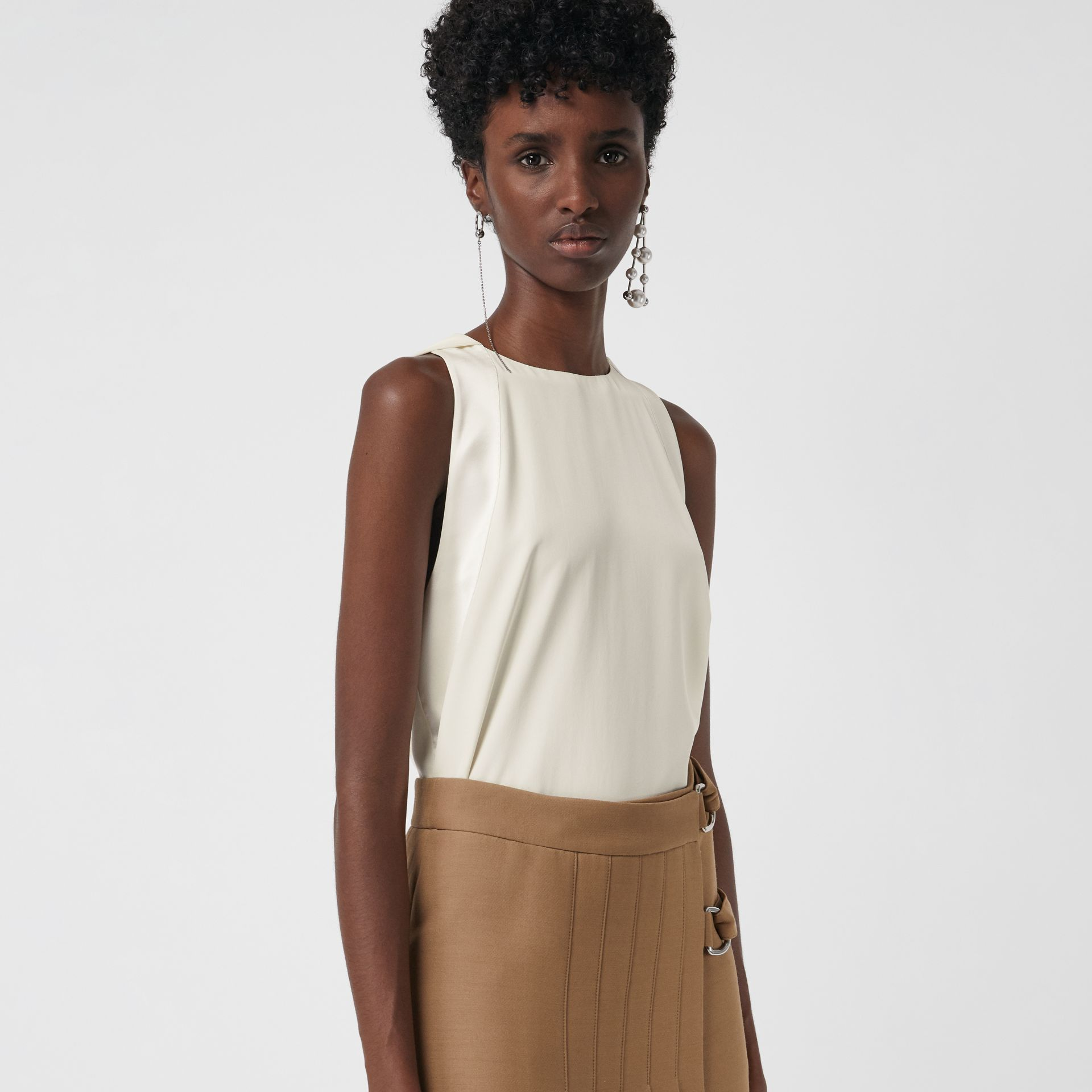 Sleeveless Panelled Silk Top in Soft White - Women | Burberry Australia - gallery image 4