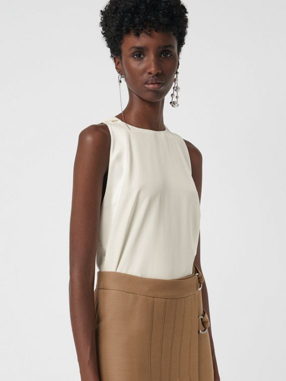Sleeveless Panelled Silk Top in Soft White