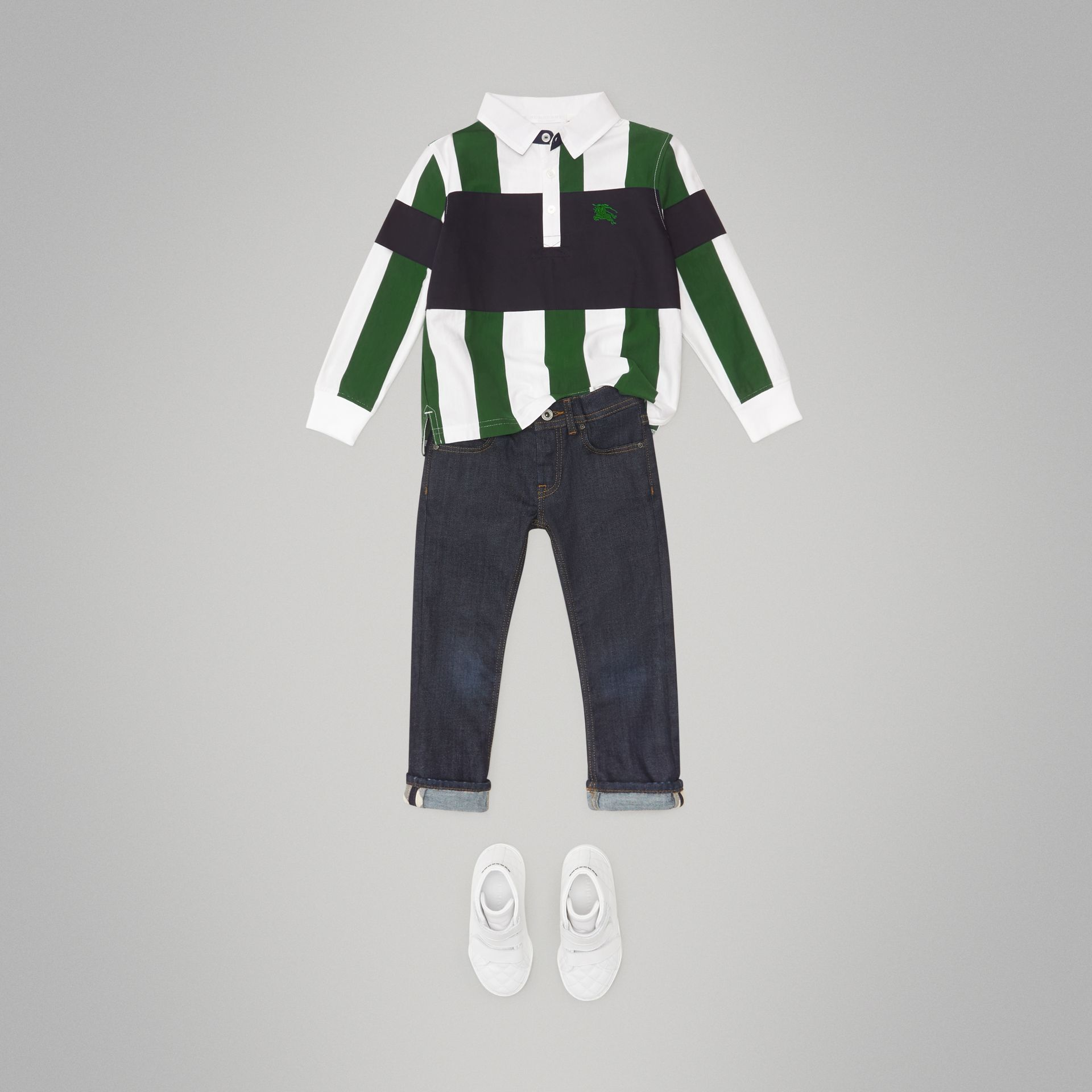 Long-sleeve Striped Cotton Polo Shirt in Racing Green/white | Burberry - gallery image 2