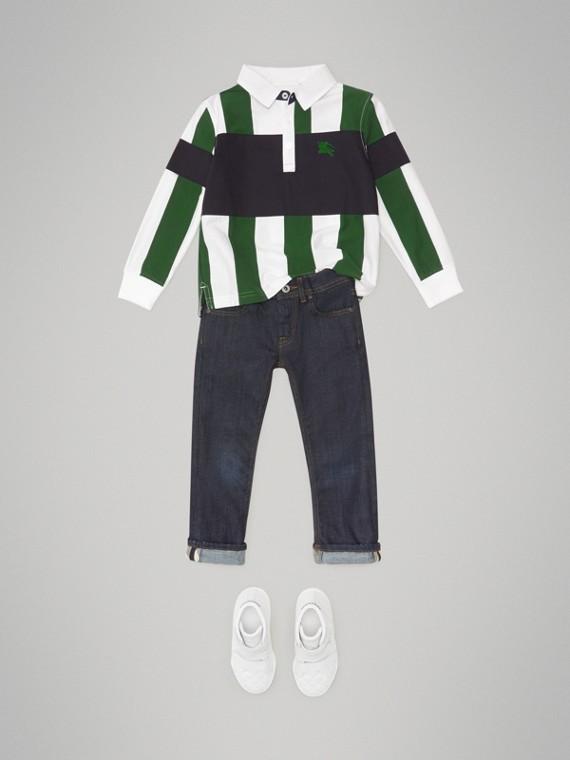ロングスリーブ ストライプ コットンポロシャツ (レイシンググリーン/ホワイト)