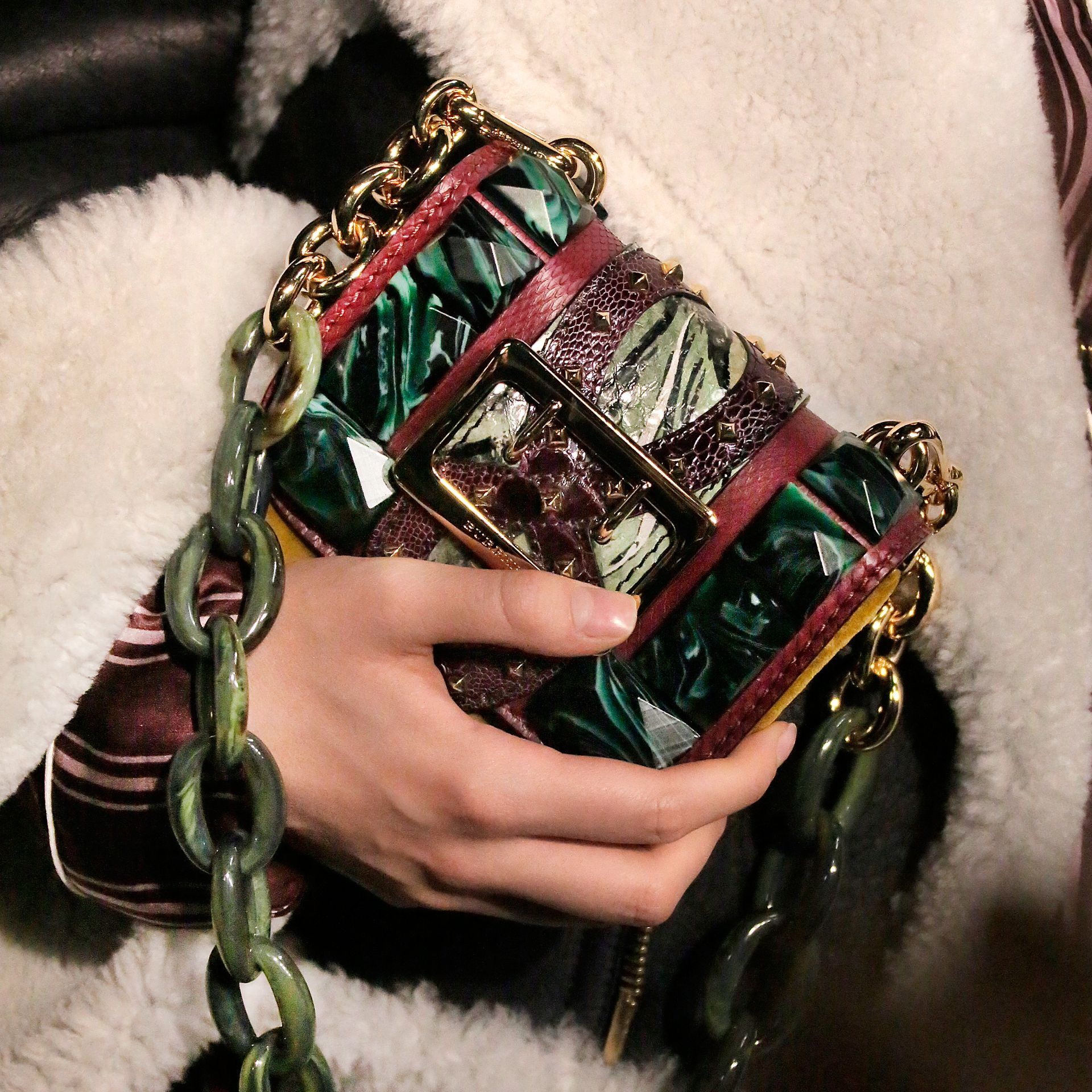 The Mini Square Buckle Bag in Velvet and Snakeskin Bordeaux - gallery image 8