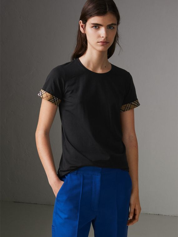 Check Detail Stretch Cotton T-shirt in Black
