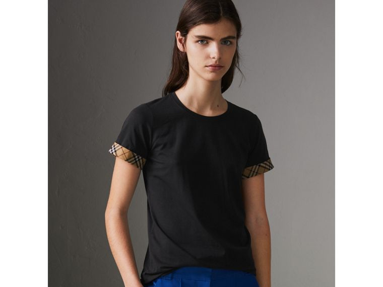 Check Detail Stretch Cotton T-shirt in Black - Women | Burberry Singapore - cell image 4