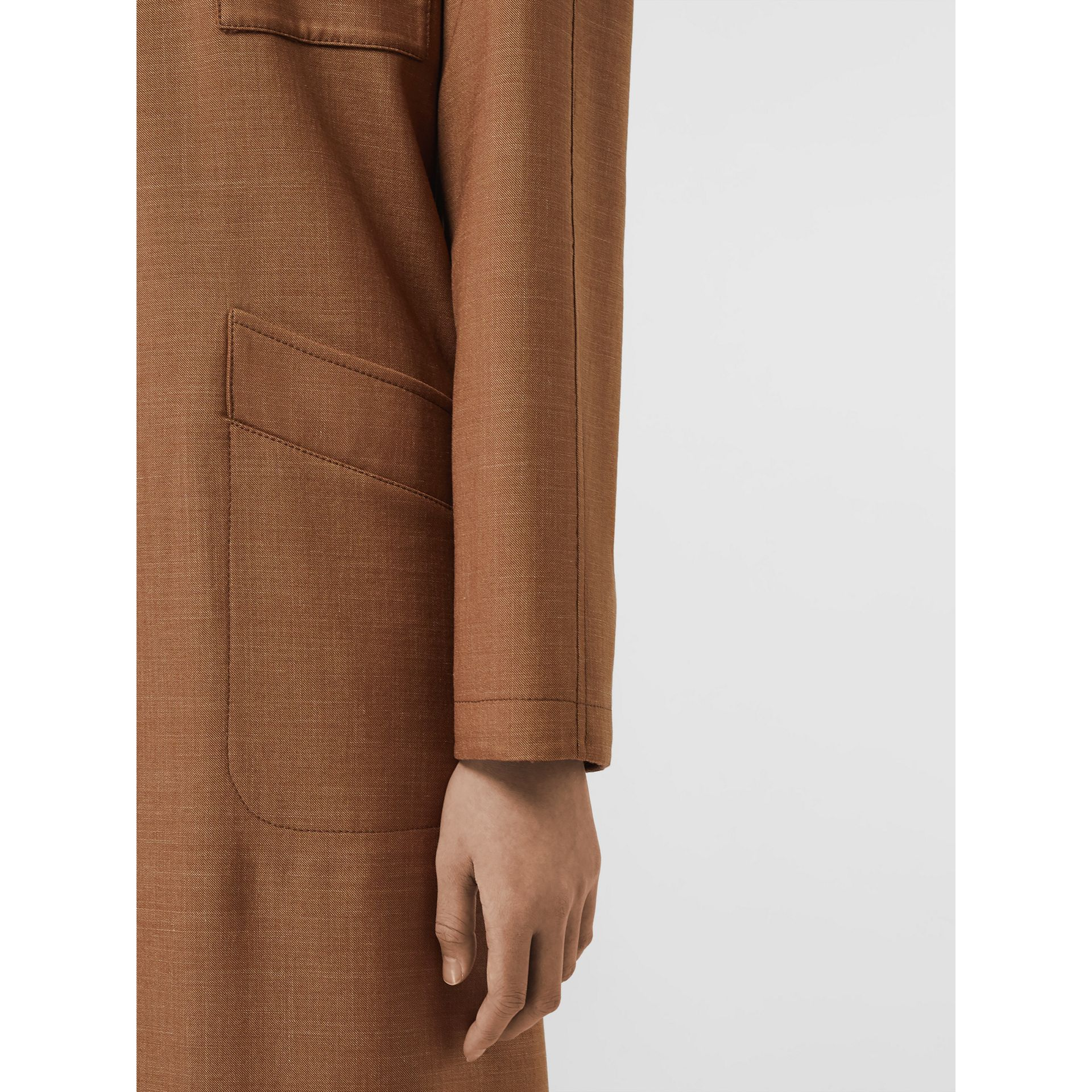 Bonded Wool Silk Mohair Linen Car Coat in Bronze - Women | Burberry Singapore - gallery image 4