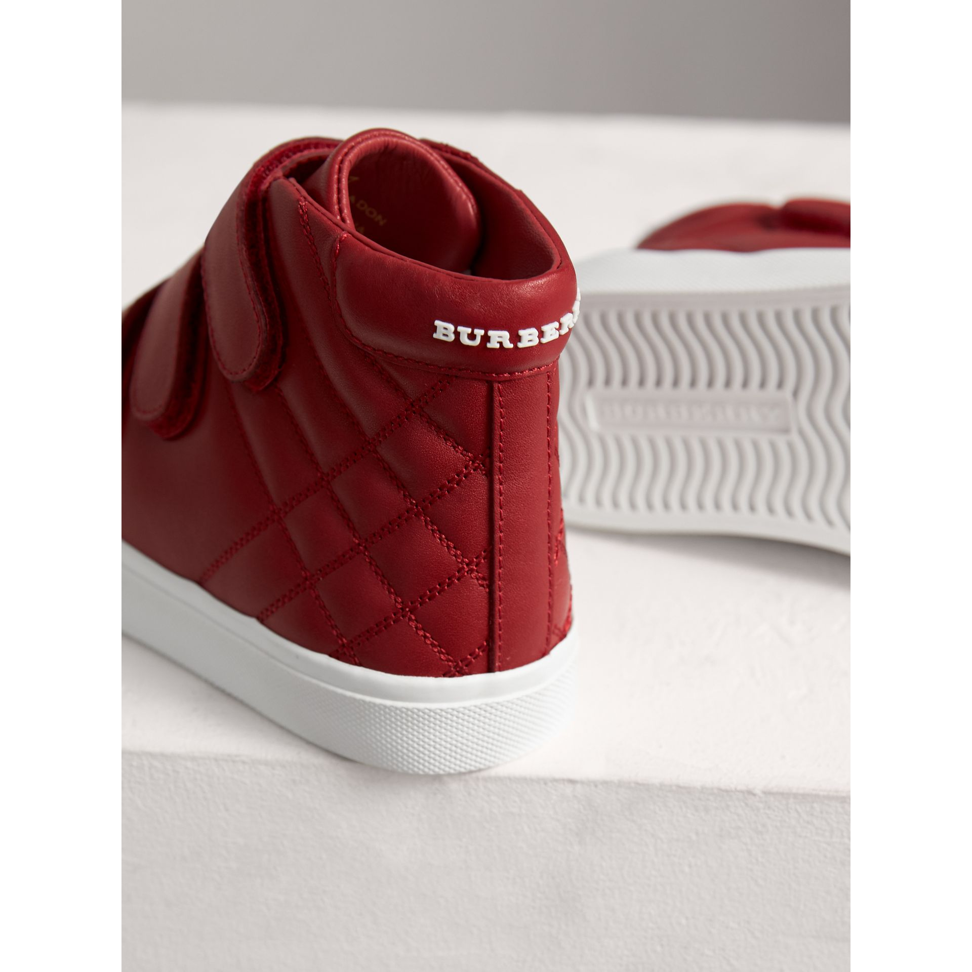 Check-quilted Leather High-top Sneakers in Parade Red | Burberry - gallery image 1