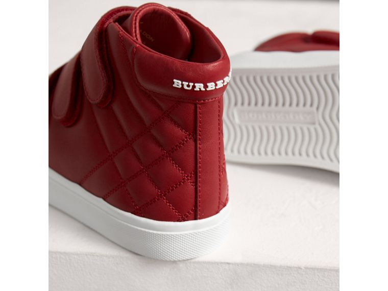 Quilted Leather High-top Trainers in Parade Red | Burberry - cell image 1