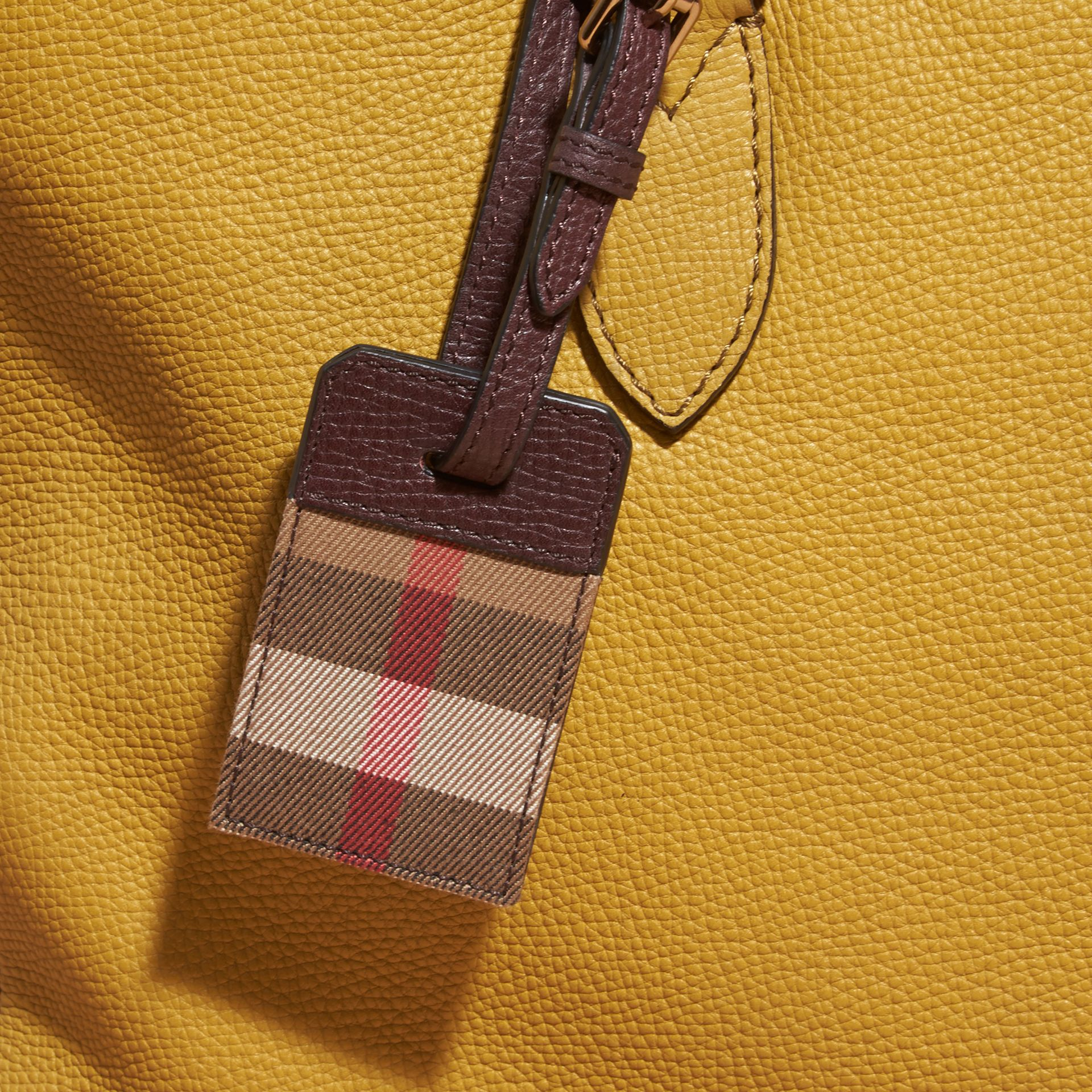 Leather and House Check Luggage Tag Wine - gallery image 2