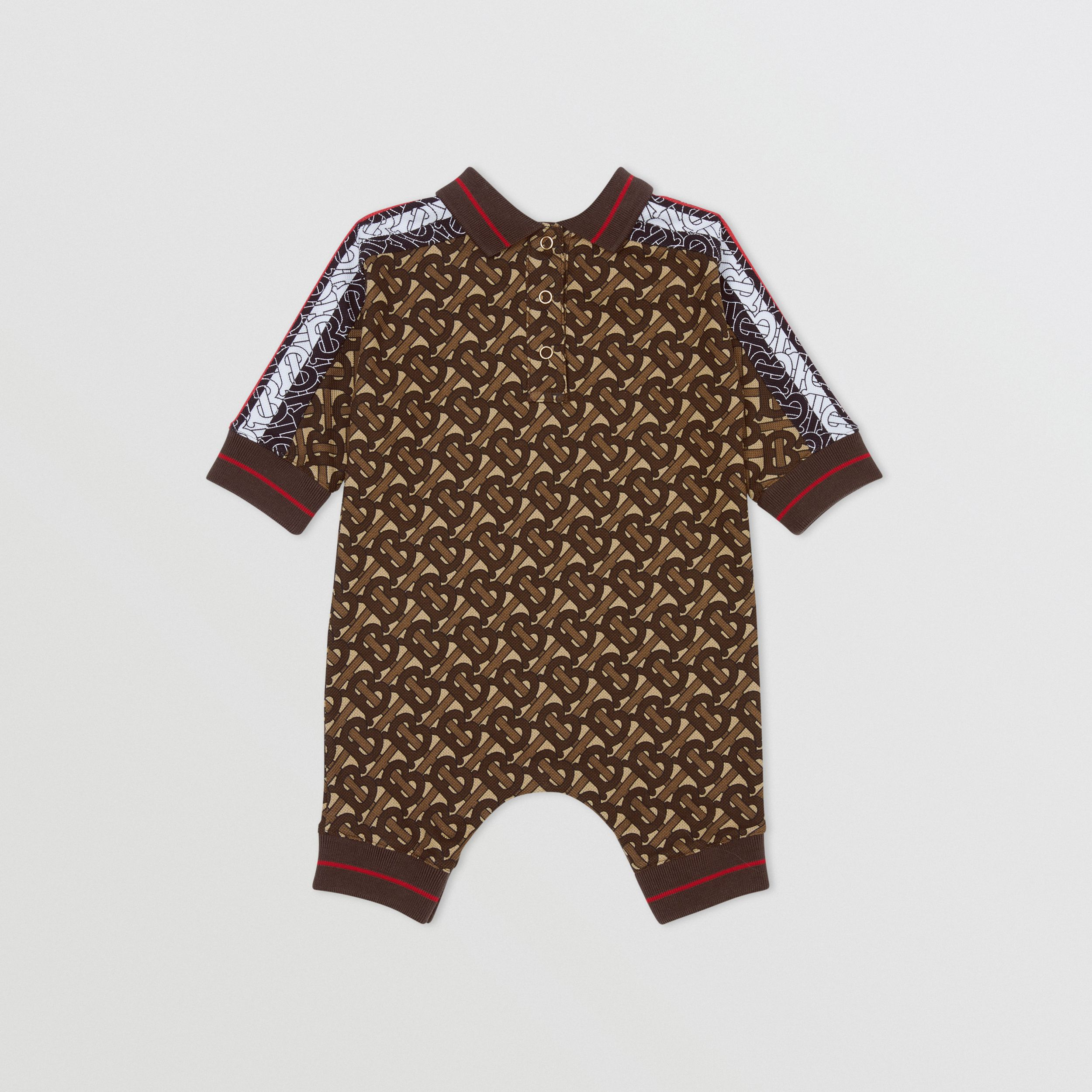 Monogram Stripe Print Cotton Piqué Jumpsuit in Bridle Brown - Children | Burberry - 4
