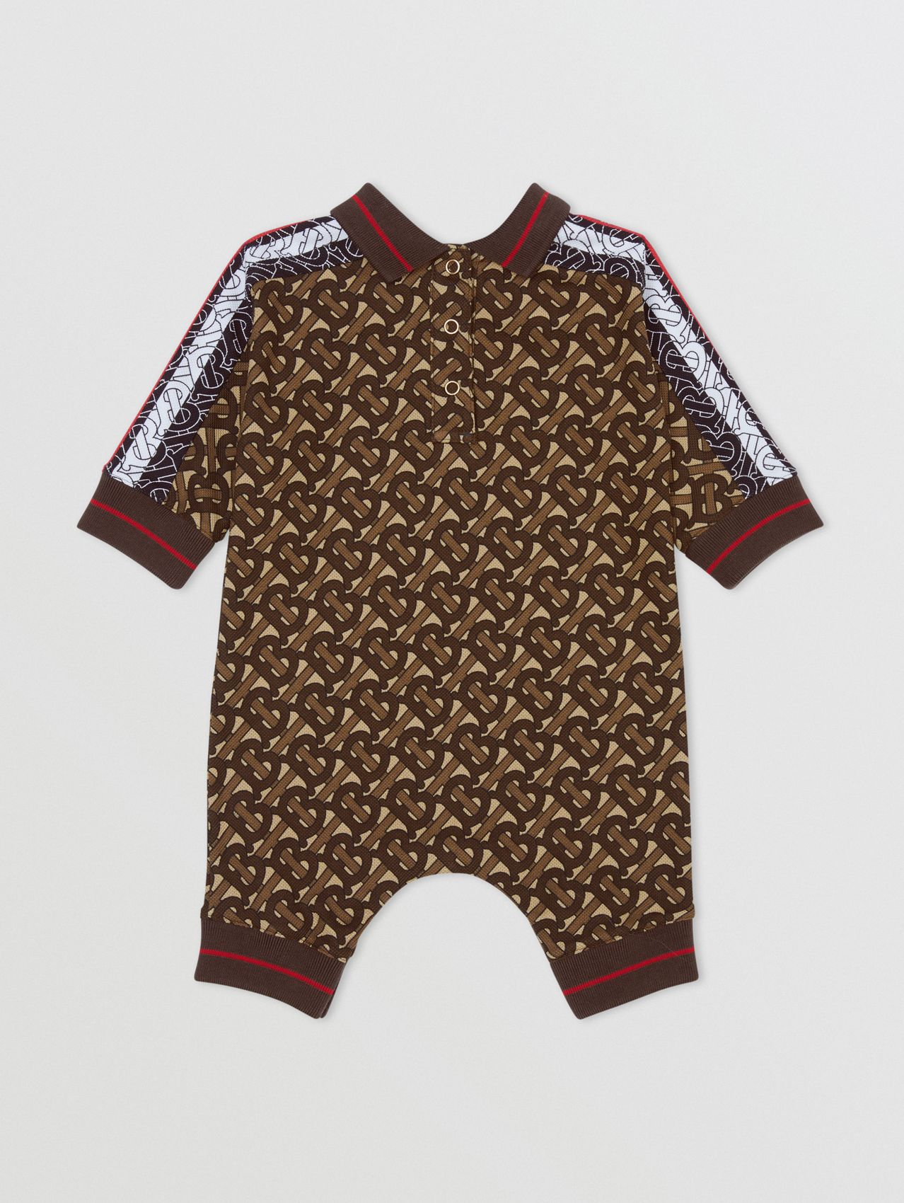 Monogram Stripe Print Cotton Piqué Jumpsuit in Bridle Brown