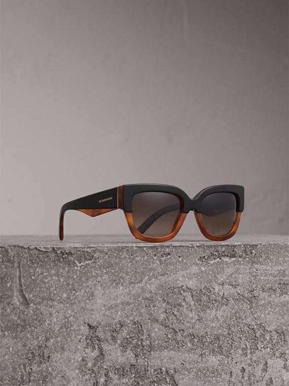 Gafas de sol de dos tonos con montura cuadrada (Marrón Claro)