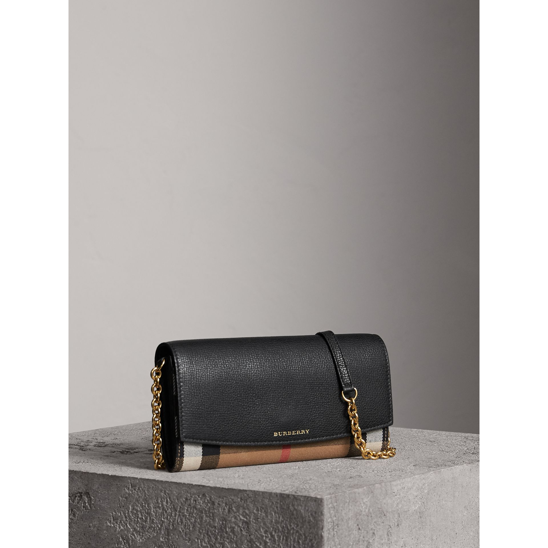 House Check and Leather Wallet with Chain in Black - Women | Burberry - gallery image 0
