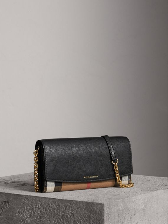 Cartera en House Checks y piel con cadena (Negro)