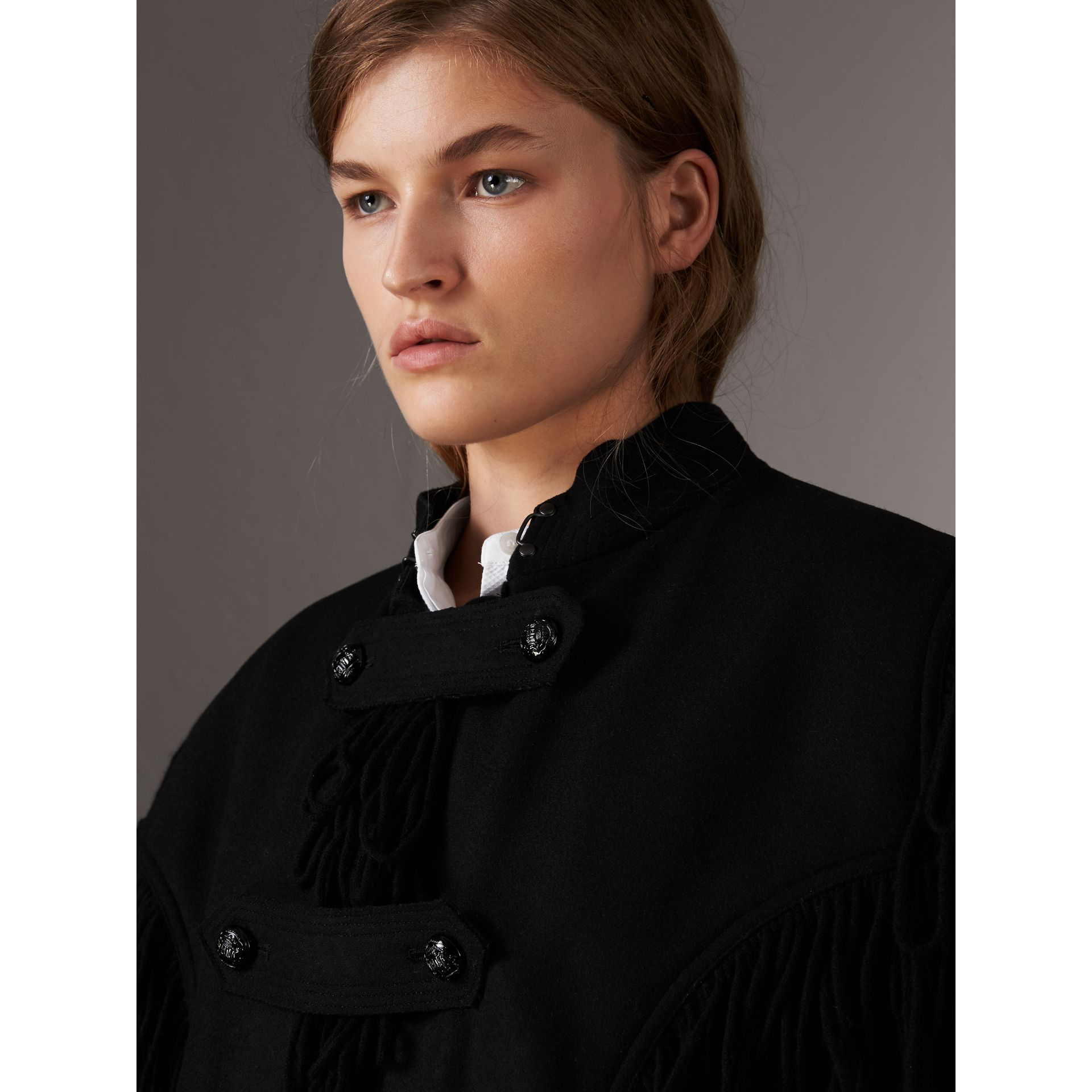 Fringed Wool Blend Military Cape in Black - Women | Burberry United States - gallery image 1