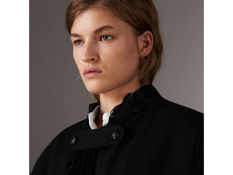 Fringed Wool Blend Military Cape in Black - Women | Burberry United States - cell image 1