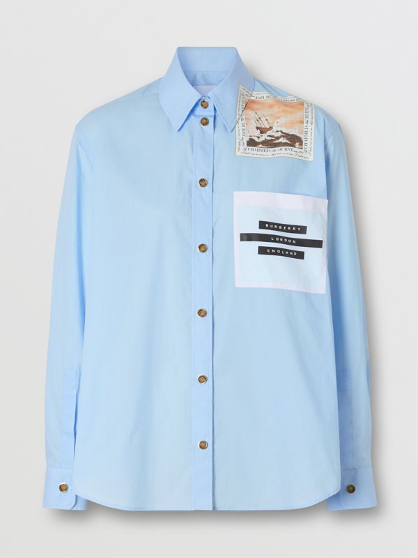 Montage Print Cotton Oversized Shirt in Baby Blue - Women | Burberry - cell image 3