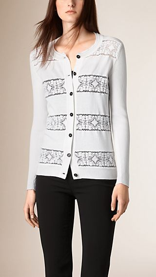 English Lace Detail Cotton Cardigan