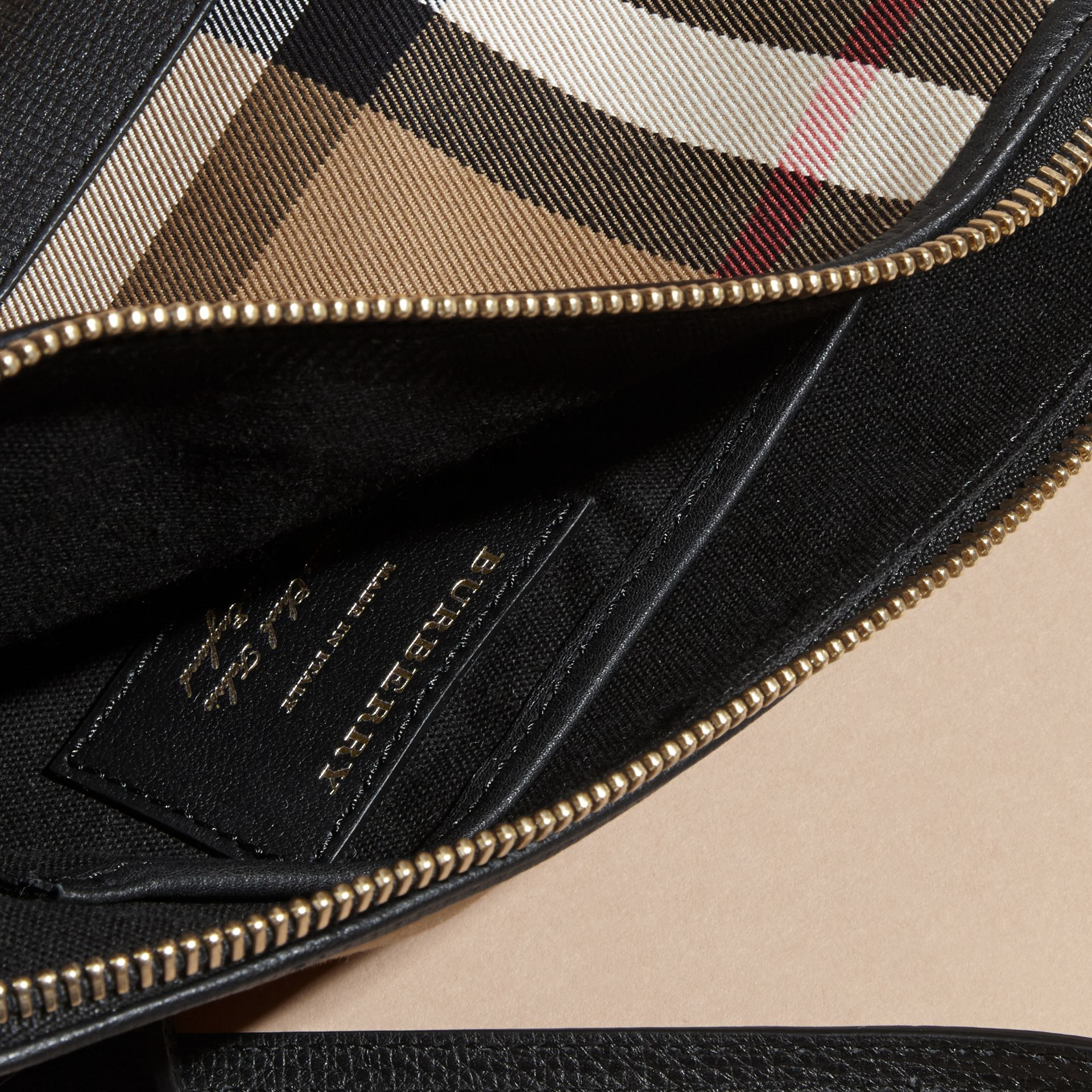 House Check and Leather Clutch Bag in Black - Women | Burberry Canada - gallery image 6